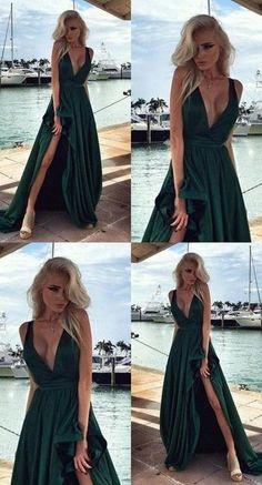 Hunter Green Elegant Long Prom Dresses Side Split V Neck Backless Evening  Gowns 2018 Satin Vestido De Festa Party Dress bfc6e68c88c7