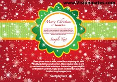 Merry Christmas vector card design with red background and green ribbon. Card is filled with snow and snowflakes. Premium Merry Christmas vector graphic card design for your New Year project 2013. Download file in Adobe Illustrator.