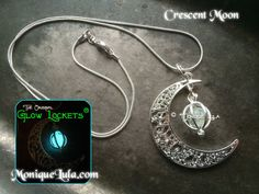Crescent Moon Glowing Orb Necklace by MoniqueLula on Etsy