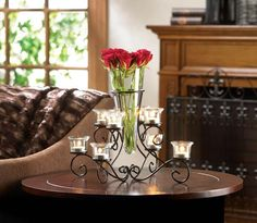 (Sponsored Link) 4 Stunning Scrollwork Candle Stand with 8 Glass Cups Vase in Center Centerpieces Floating Candle Centerpieces, Elegant Centerpieces, Wedding Table Centerpieces, Candle Lanterns, Wedding Reception Decorations, Votive Candles, Candleholders, Black Candle Holders, Candle Holders Wedding