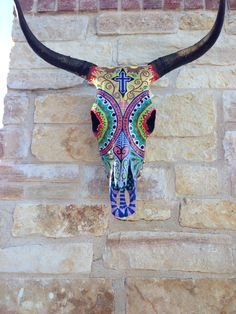 hand painted cow skull