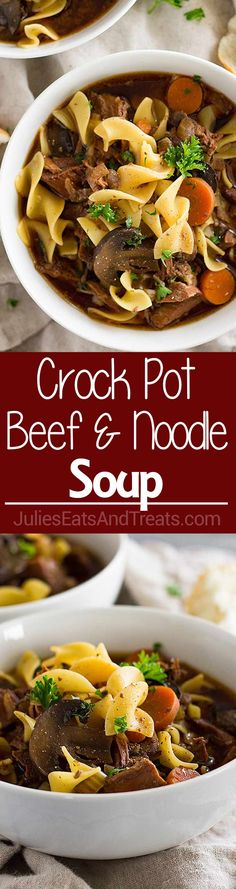 Crock Pot Beef and Noodle Soup ~ Easy Slow Cooker Beef Stew with the Addition of Pasta! Loaded with Stew Meat, Carrots, Celery, Mushrooms and Egg Noodles! via Julie Evink | Julie's Eats & Treats®