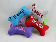 Personalized Dog Bone Toys Small Dog Toy BITTY by suchastitch. $8.00, via Etsy.