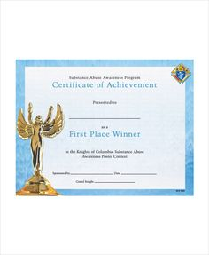 First Place Certificate 11 School Certificate Templates  Free Word & Pdf  Office Work .