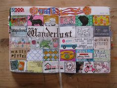 wanderlust doodles I need to try a month page like this. Originally pinned by Kelley Shangle onto art journals. Artist Journal, Art Journal Pages, Art Journals, Journal Ideas, Visual Journals, Journal Cards, Kunstjournal Inspiration, Sketchbook Inspiration, Smash Book