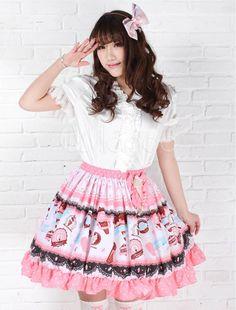 Rose Polyester Lolita jupe glace crème imprimé Dots Ruffles garniture
