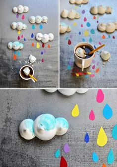 "For this issue, I had the chance to propose a recipe. I really wanted [one side from a simple recipe and] one side ""street art,"" colorful graphics but a simple recipe.   So I suggested small meringues clouds which fits quite well in [the] wet weather of the moment, right? ;)"