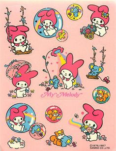 1987 My Melody - Sanrio - Stickers Sanrio Wallpaper, My Melody Wallpaper, Hello Kitty Wallpaper, Somebunny Loves You, Hello Kitty My Melody, Cute Poster, Kawaii Stickers, Wow Art, Sanrio Characters