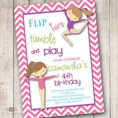 Cute Bday gymnastics themed party invitation
