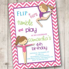 Cute Bday gymnastics themed party invitation