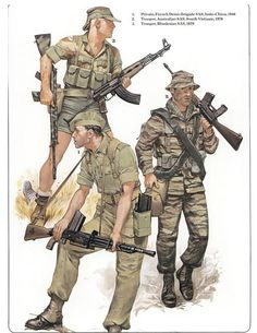 Troops from various SAS formations - Courtesy of Osprey Military Gear, Military History, Military Uniforms, Military Drawings, Army Uniform, Modern Warfare, Special Forces, Vietnam War, Cold War