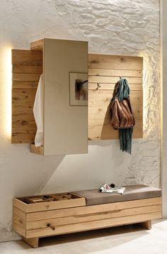 Voglauer coat rack V-Organo / Orlinda from wild oak Hallway Bench Seat, Hallway Storage, Home Entrance Decor, House Entrance, Home Decor, Hallway Furniture, Ikea Furniture, Garderobe Design, Flur Design