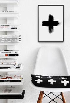 Swiss Cross Printable Poster Brush Stroke - 50x70 cm - A4 Plus Sign - Black and White Geometric - Nursery Wall Art - Swiss Cross Print