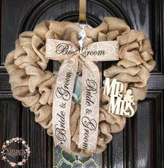 A personal favorite from my Etsy shop https://www.etsy.com/listing/287278871/bride-groom-burlap-wreath-heart-shape