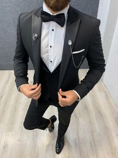 Collection: Spring – Summer 2019 Product: Slim Fit Tuxedo Color Code: Black Size: Suit Material: satin fabric, lycra Machine Washable: No Fitting: Slim-fit Package Include: Jacket, Vest, Pants Only Gifts: Shirt, Chain and Bow Tie Slim Fit Tuxedo, Slim Suit, Tuxedo Suit, Tuxedo For Men, Black Suit Wedding, Wedding Suits, Shawl Collar Tuxedo, Tuxedo Colors, Designer Suits For Men