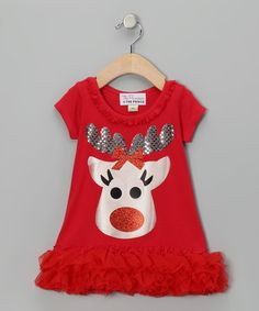 Take a look at this Red Reindeer Ruffle Dress - Infant, Toddler & Girls by The Princess and the Prince on #zulily today!