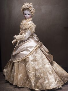 """Antique French Ivory silk satin gown with extended trim and matching bonnet for Fashion doll about 18-19"""" (45-48 cm)"""