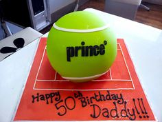 3D Tennis Ball shaped cake covered in fondant icing by Charly's Bakery, via Flickr