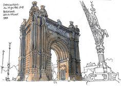 Arc de triomf By Gerard Michel Urban Sketching, Sketches, Arts Barcelona, Urban Art, Picture Design, Watercolor Architecture, Illustration Art, Architectural Sketch, Travel Sketches