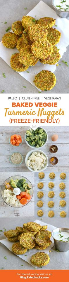 Craving something to munch on? These baked veggie turmeric nuggets come to the rescue with a crispy outside and savory flavor on the inside. Great for picky eaters! Get the full recipe here: http://paleo.co/veggieturmnuggets