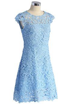 Blue Jasmine Lace Crochet Dress - Retro, Indie and Unique Fashion