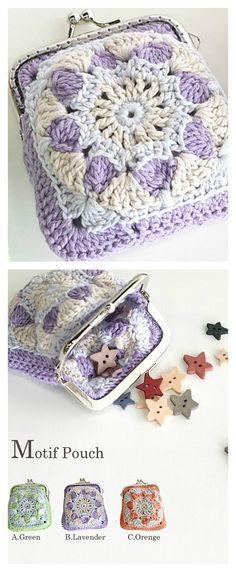 Crochet Purses Patterns Motif Pouch / Coin Purse Free Pattern - Coins could be very helpful in certain situations. Here are some Crocheted Coin Purse Free Patterns to help make special and beautiful purses to keep coins. Crochet Coin Purse, Bag Crochet, Crochet Shell Stitch, Crochet Handbags, Crochet Gifts, Crochet Granny, Crochet Stitches, Free Crochet, Crochet Change Purse