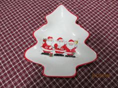 Vintage Christmas Tree Shaped Candy Nut Dish with Santa Clause Trio by EvenTheKitchenSinkOH on Etsy
