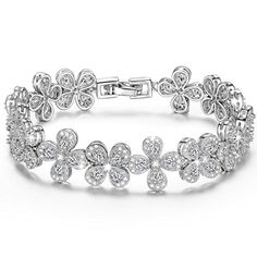 Christmas Gifts Flower Design Zirconia Brass Tennis Bracelet for Women Wedding Jewelry Lucky Birthday Gifts upcoming black Friday deals Fashion Jewelry for Women ** Visit the image link more details.