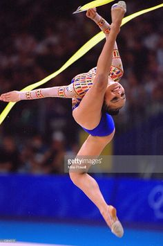Alina Kabaeva of Russia on her way to Bronze in the Womens Rhythmic Gymnastics Final at Pavilion 3 on Day 16 of the Sydney 2000 Olympic Games in Sydney, Australia. \ Mandatory Credit: Mike Powell /Allsport
