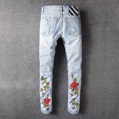 robin jeans for men mens wear mill wear striped Rose embroidery Ripped Denim pants men brand