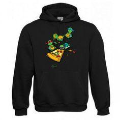 "Kapuzen Sweatshirt ""Pizza Turtles"" Fruit of the Loom, Beuteltasche, 80% Baumwolle"