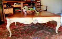Country French Coffee Table Grey Cream Wood Two-tone Annie Sloan