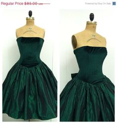 SALE 1980s Green Party Dress 80s Taffeta by CreatedAndCollected