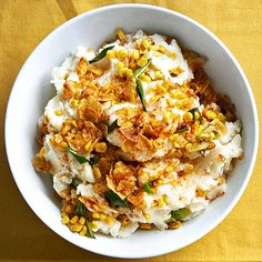 Classic mashed potatoes fresh corn and green onion in a swirl of sour cream-y goodness, but we don't stop there! Get the rest of the recipe here: http://www.bhg.com/recipes/potato/potato-side-dish-recipes/?socsrc=bhgpin121714sourcreamandcornmashers&page=13