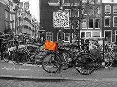 Hello! Bikes in Amsterdam and a QR code in 2010. (c) CYM 2010