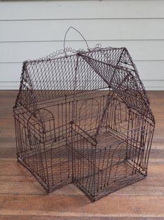 Vintage Rusty Wire Bird Cage  Decorative by TheBorrowedBicycle, $70.00