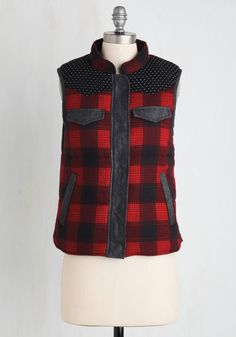 Chalet it On Me Vest. Once you have this plaid vest zipped up, youre ready to take on the camping itinerary!  #modcloth