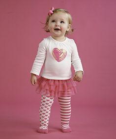 Look at this #zulilyfind! White Sequin Heart Tee & Skirted Tights - Infant #zulilyfinds