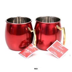 916a21aff1dd 2-Piece Set  Colorful Stainless Steel Moscow Mule Mugs with Brass Handle at  63