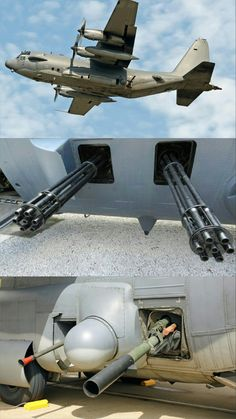 The AC-130H Spectre (Attack Cargo Plane Project II) currently retired/replaced with the J model Ghostrider. Spectres weapons consisted of twin 20mm cannons (mid pic), one Bofors 40mm cannon and one 105mm Howitzer (bottom pic). See the top pic, there are two black squares that used to house the 20mm cannons. This weapon was removed due to a ricochet issue (collateral damage) reported by Special Forces on the ground, something that has never been mentioned anywhere.