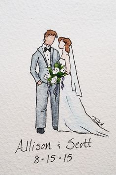 These miniature portraits are a perfect gift for the bride and groom that won't break the bank! Have their wedding day memorialized with an original watercolor painting! Order here: https://www.etsy.com/listing/259568843/custom-wedding-portrait-with-names-and?ref=shop_home_active_1