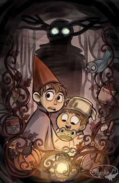 Over the Garden Wall by sharkie19 on deviantART. ((Hey, do you like cartoons with gorgeous art and dark undertones that starts off kinda weird but lighthearted before becoming utterly heartbreaking and honestly terrifying? Then boy do I have a show for you! (In other words Over the Garden Wall is great go watch it)))