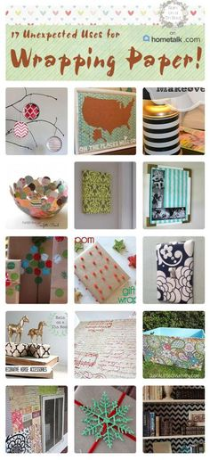 Awesome and frugal ways to use wrapping paper in your home decor! Via RainonaTinRoof.com #crafts #diy #wrappingpaper