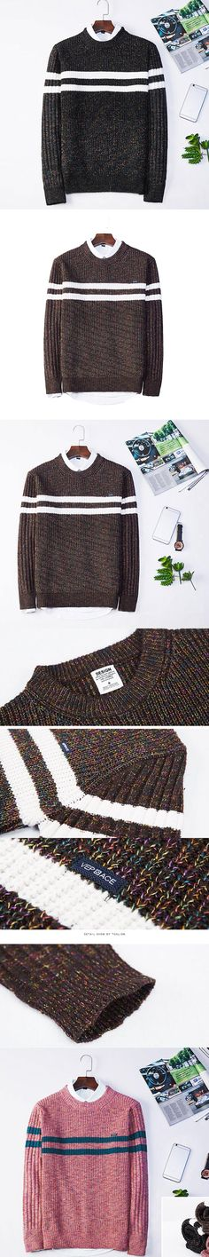 New Brand Men's Slim O-Neck Long Sleeve Wool Knitting Top Sweaters Fashion Pullovers Striped Outwear Oversize Winter Autumn Warm