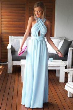 Light Blue Trendy Criss Cross Bodice Maxi Dress