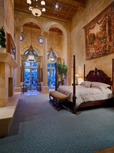 bedroom suites, mediterranean master bedroom, master bedrooms, luxury bedroom suite, carpet, 2 story bedrooms
