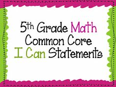 """My Journey to 5th Grade: """"I Can"""" statements for the Common Core"""