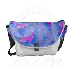 Autumn Leaves Rickshaw Messenger Bag from Zazzle.com    autumn,leaves,turquoise, magenta,artistic, abstract, flower, digital,modern,retailer