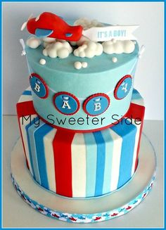 Airplane baby shower Cake- if I ever have a boy his shower and room will be airplanes Airplane Baby Shower Cake, Baby Shower Cakes For Boys, Baby Boy Shower, Airplane Party, Airplane Cakes, Cupcakes, Cupcake Cakes, Baby Boy Sprinkle, Bebe Shower