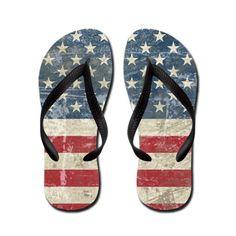flip flops with vintage us flag  design